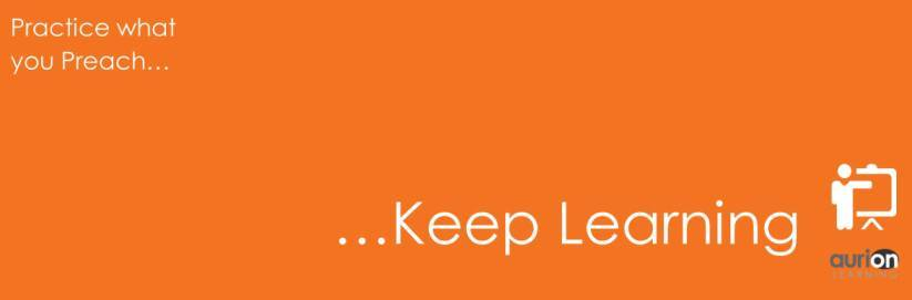 Practice what you Preach: Keep on Learning  | Aurion Learning thumbnail
