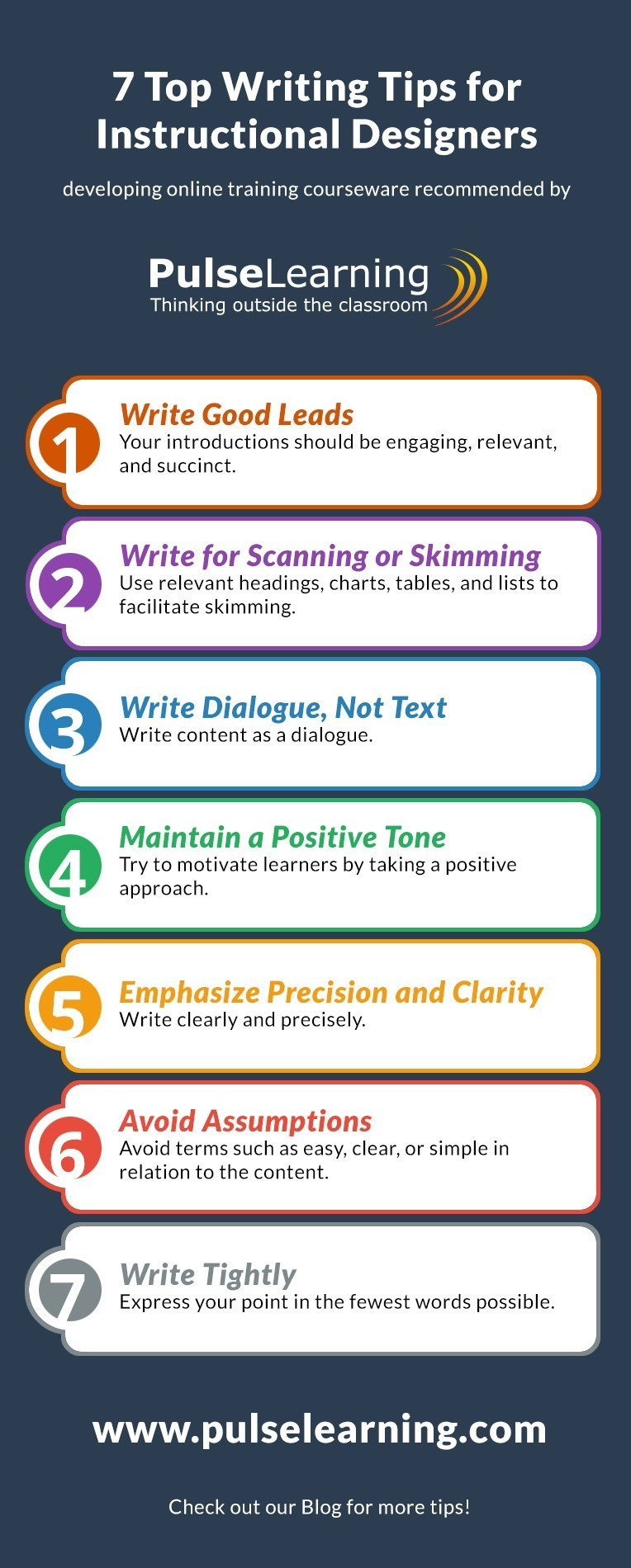 7 Top Writing Tips for Instructional Designers Infographic Blog | PulseLearning thumbnail